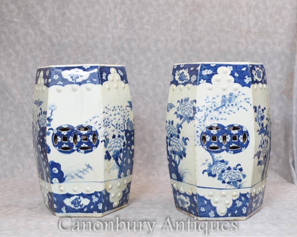 Paire de sièges de jardin chinois en porcelaiPaire de sièges de jardin chinois en porcelaine bleue et blanche Mingne bleue et blanche Ming