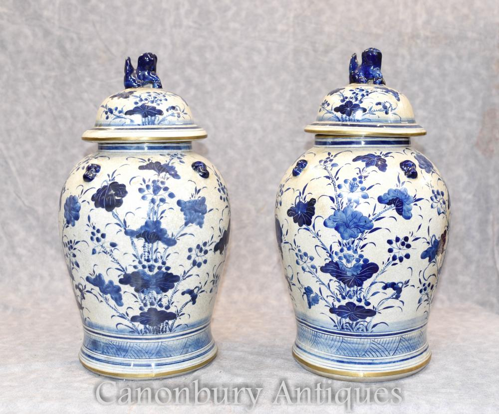 Paire de vases à gingembre chinois en porcelaine bleue et blanche Vases Ming