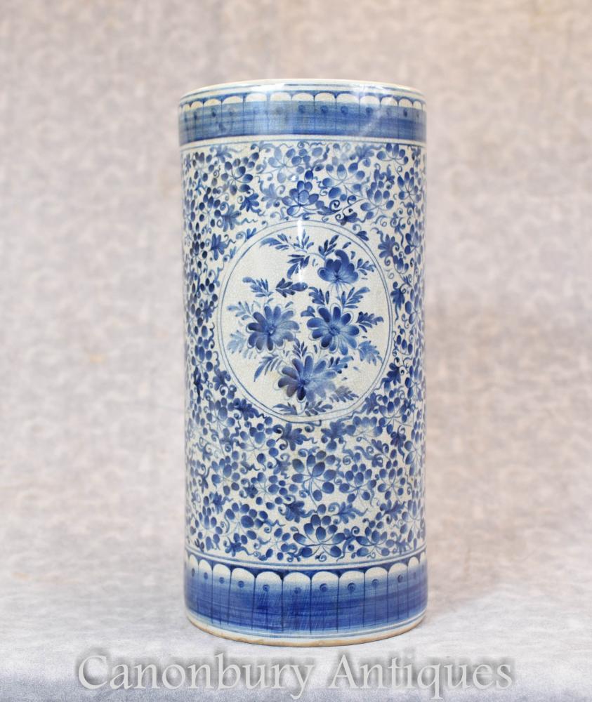 Porte-parapluie vase Ming en porcelaine de Chine bleu et blanc