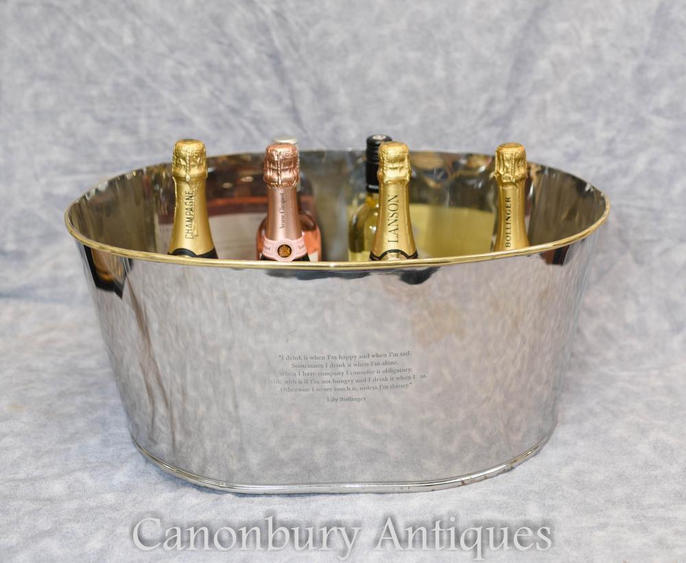 Seau à glace en plaque d'argent française Seau à champagne Bollinger