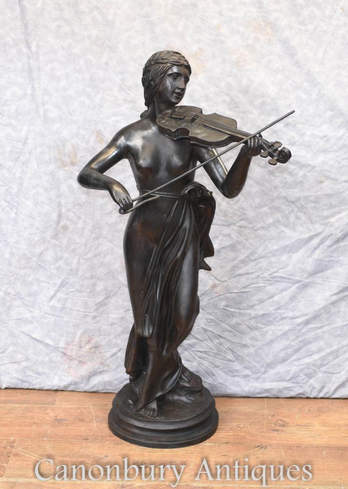 Statue de violon en bronze français