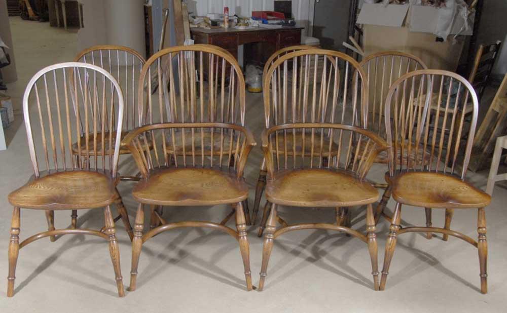 8 Chaises de Salon Windsor Anglais en Chêne 8 Chaises de Salon Windsor Anglais en Chêne