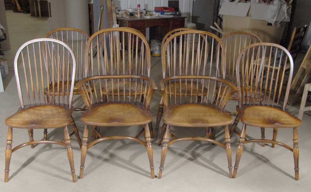8 Chaises de Salon Windsor Anglais en Chêne8 Chaises de Salon Windsor Anglais en Chêne