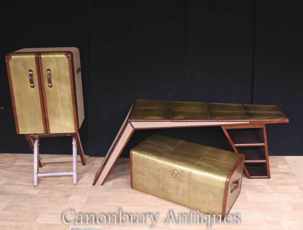 Art Deco Campaign - Armoire de bureau avec coffre