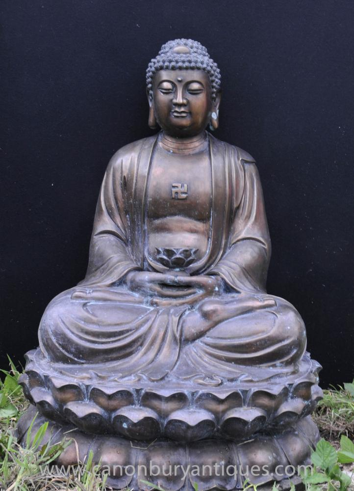 Bouddha Bronze Statue Bouddhisme Grand Lotus Méditation Pose Art Bouddhiste