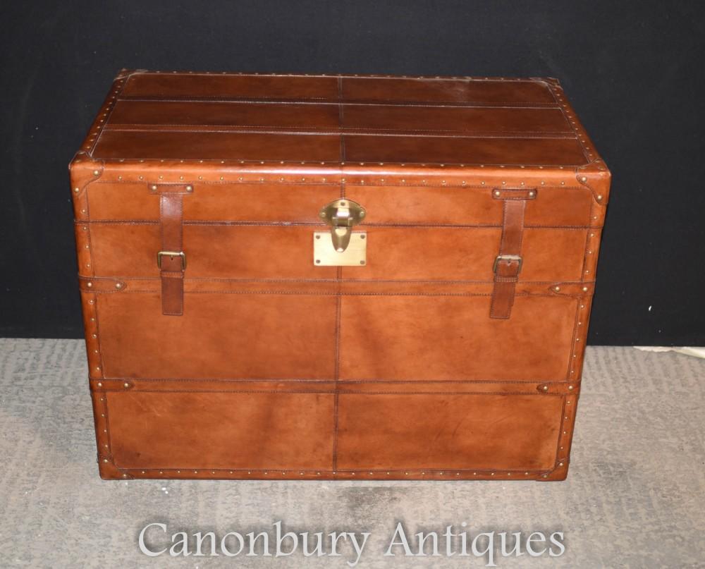Coffre à bagages pour coffre à vapeur en cuir - panier de rangement