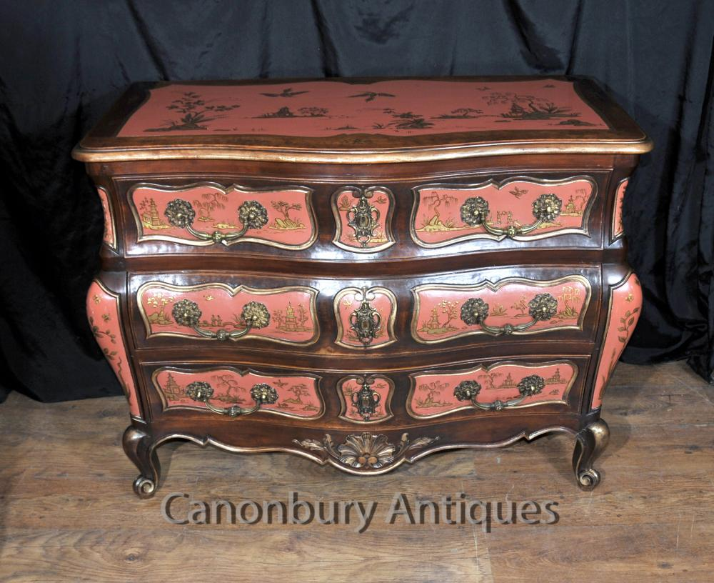 Commodes Chinoises Anciennes - Commode Chinoiserie Laque Rouge Bombe 1910