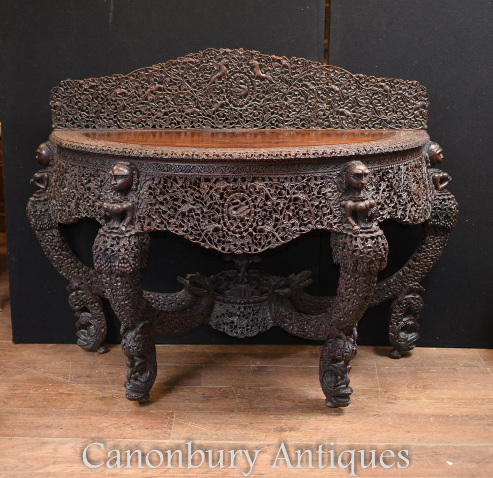 Console Console Birmane Antique Sculptée Main Birmanie Vers 1880