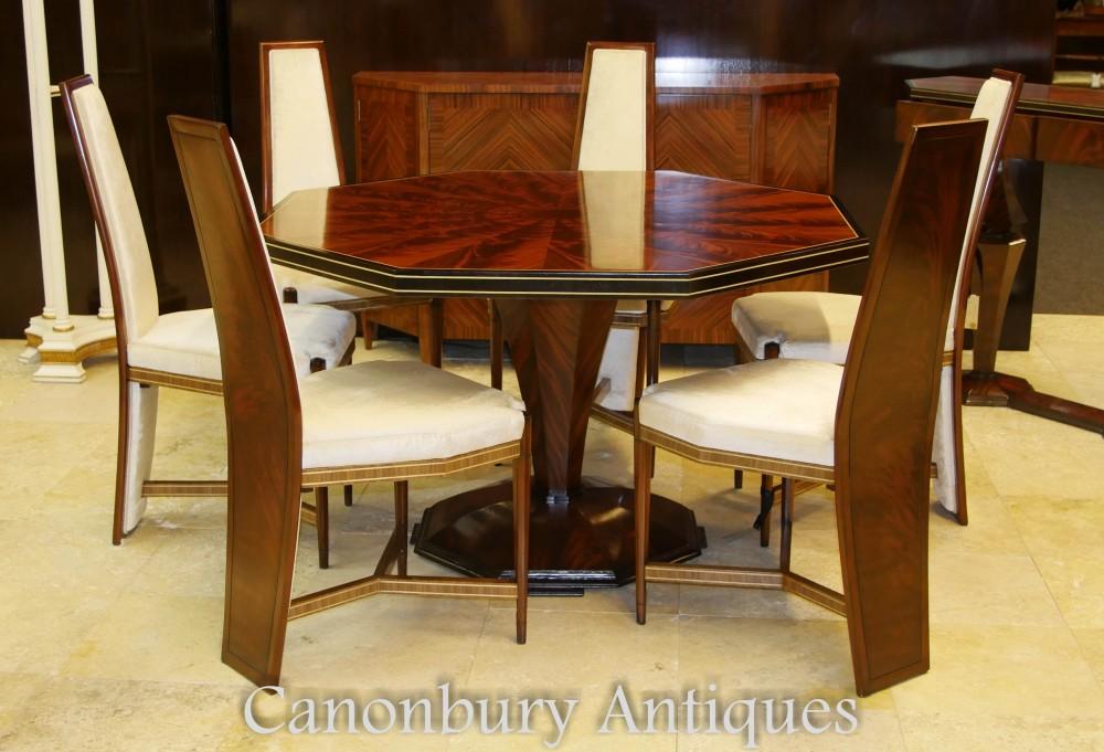 Ensemble de salle à manger Art Déco - Suite table et chaises octogonales