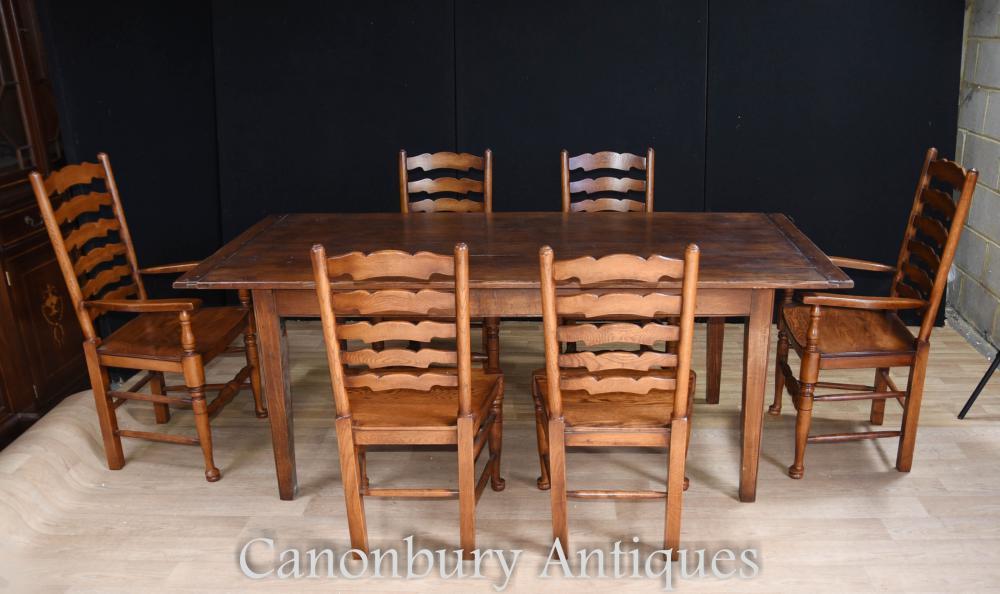 Ensemble de table de réfectoire en chêne, 6 chaises à dossier en échelle