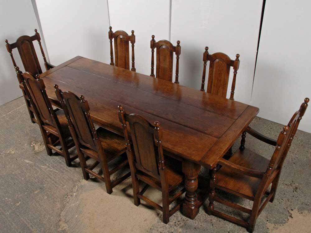 Ensemble de table de réfectoire et de chaise de ferme gothique anglaise