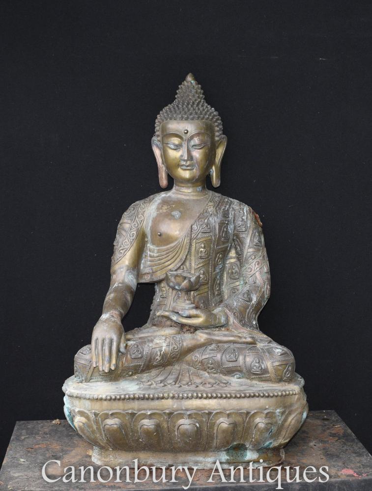 Grand Bronze Statue Bouddha Népalaise Jardin Art Bouddhiste