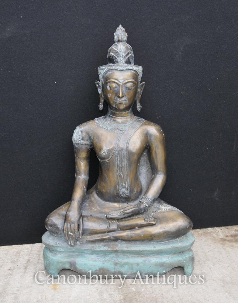 Grand Bronze Statue de Bouddha Népalais Bouddhisme Art Bouddhiste Népal
