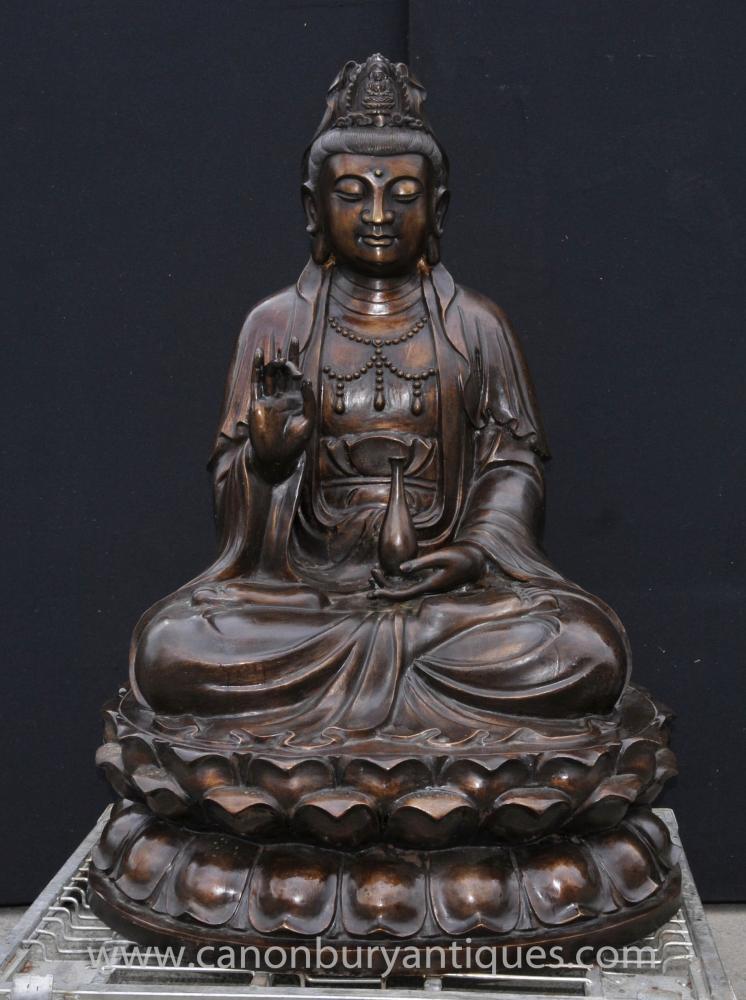 Grande Statue de Bouddha de Birmanie en Bronze Figurine Lotus Bouddhisme Bouddhiste