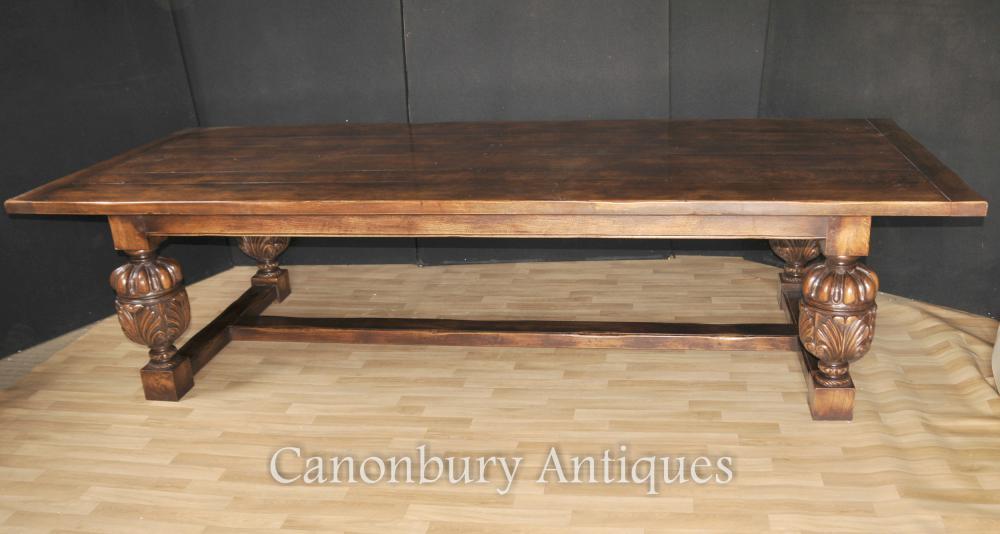 Grande table de réfectoire - Tables de salle à manger de cuisine française en chêne