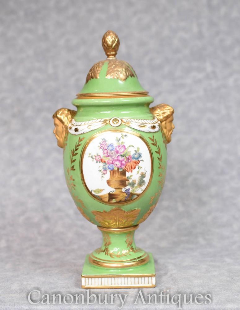 Green Dresden Vase - Spray floral pour urne en porcelaine allemande