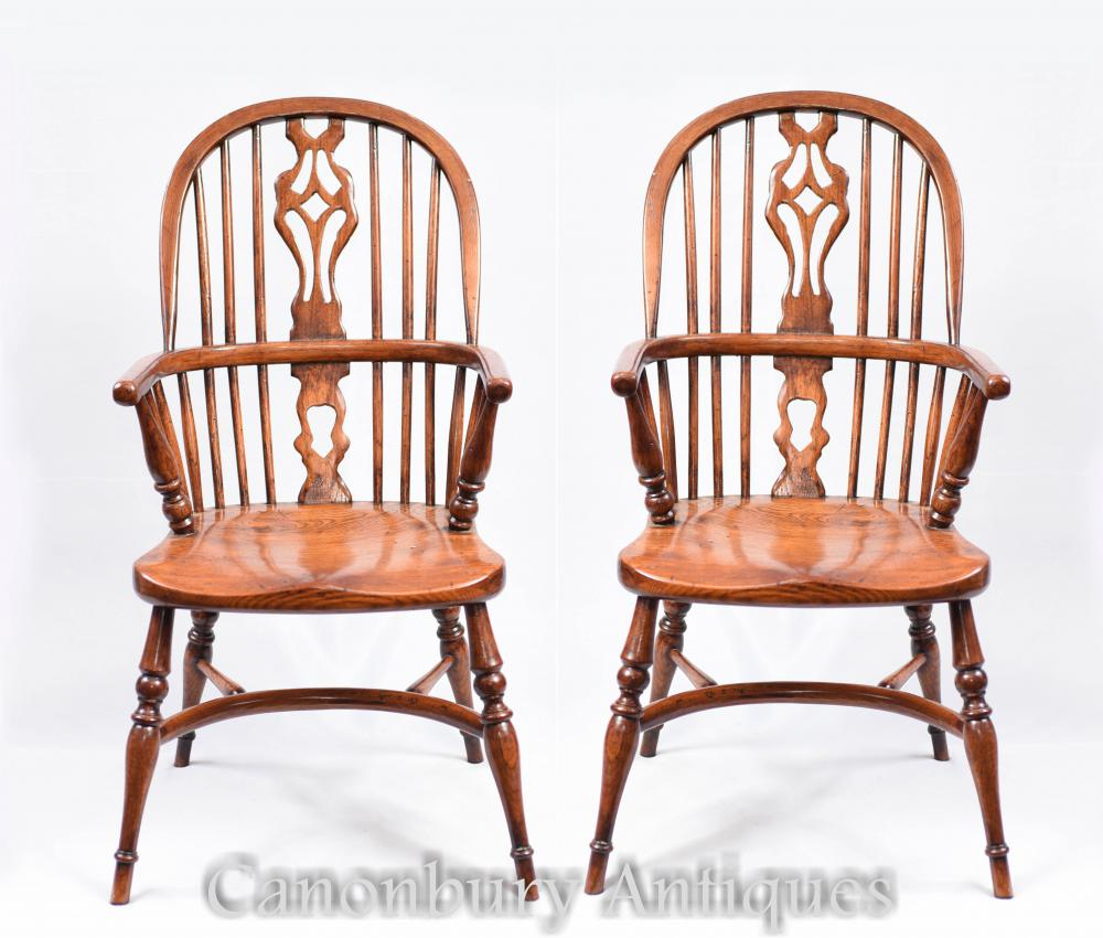 Pair Mini Kids Windsor Chaise De Salle À Manger Rustique Antique