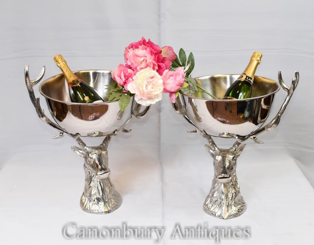Paire à vin Paire de refroidisseurs à champagne Stag Silver Plate