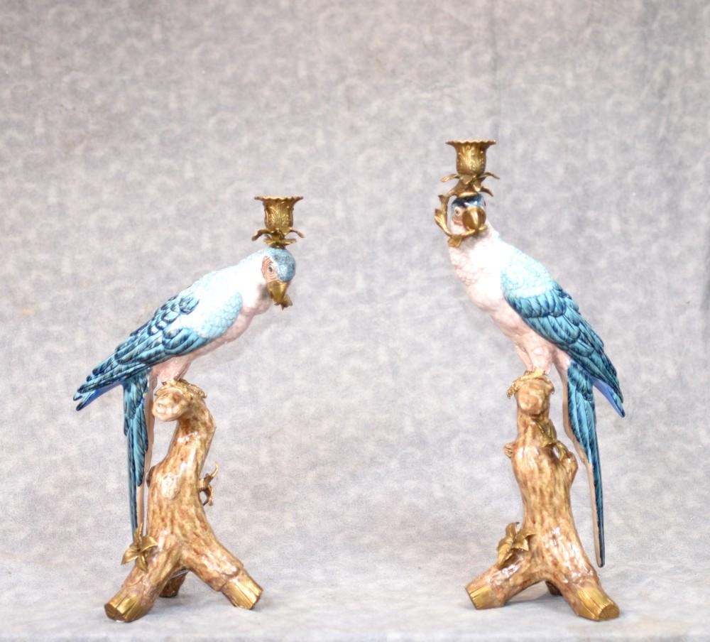 Paire De Candélabres - Bougeoirs Perles De Porcelaine Et Perles Dorées