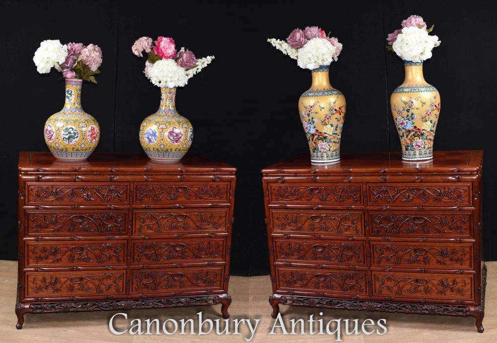 Paire De Commodes Grandes Commodes Chinoises Sculptées Main