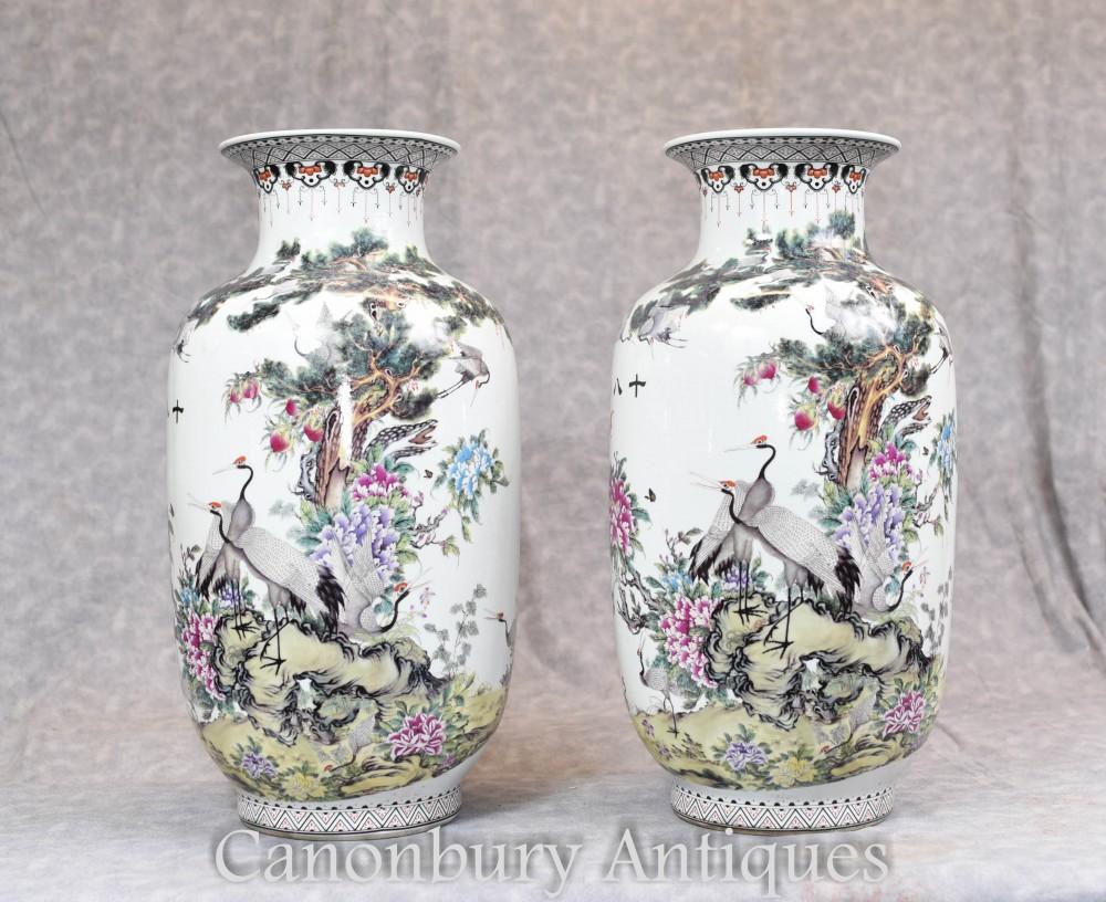 Paire De Vases Chinois En Porcelaine De Qianjiang Urnes Grue Cigogne Peint Chine