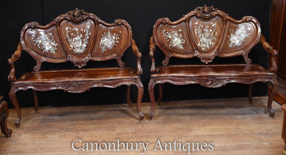 Paire de bancs de sièges en nacre antiques