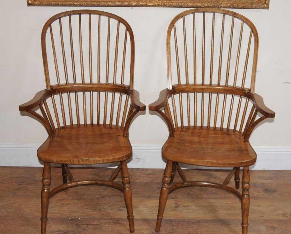Paire de fauteuils Windsor pour salle à manger, fauteuils Windsors