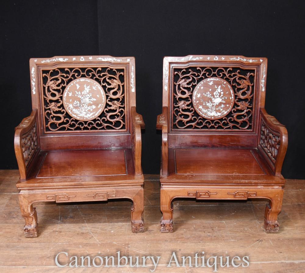 Paire de fauteuils chinois - Chaise ancienne en marqueterie de feuillus anciens