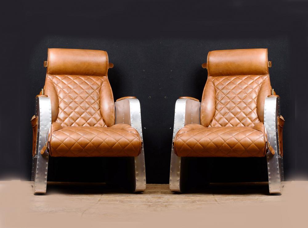 Paire de fauteuils club art déco, chaise longue aviateur