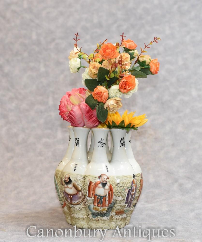 Qianlong chinois porcelaine Crocus Vase Vases Peint À La Main Multi Tige