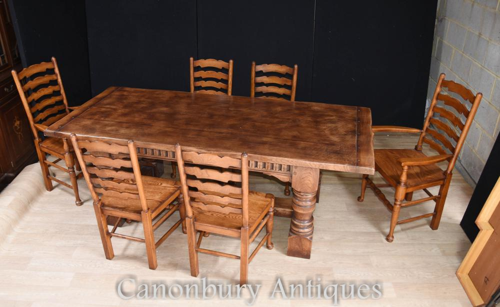 Refectory Table Ladderback Chairs Dining Suite - Ensemble de cuisine à la ferme