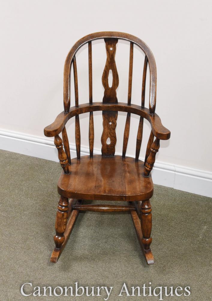 Rocking Chair Childs Oak Windsor Chaises d'Enfants
