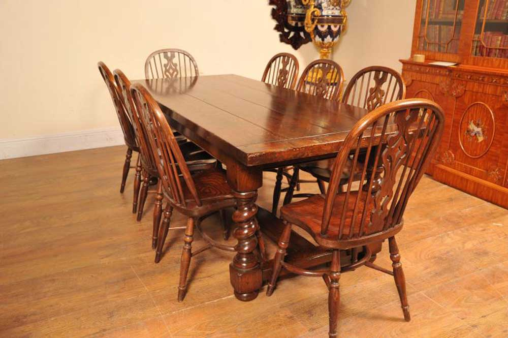 Set de cuisine Table de réfectoire Windsor Chairs