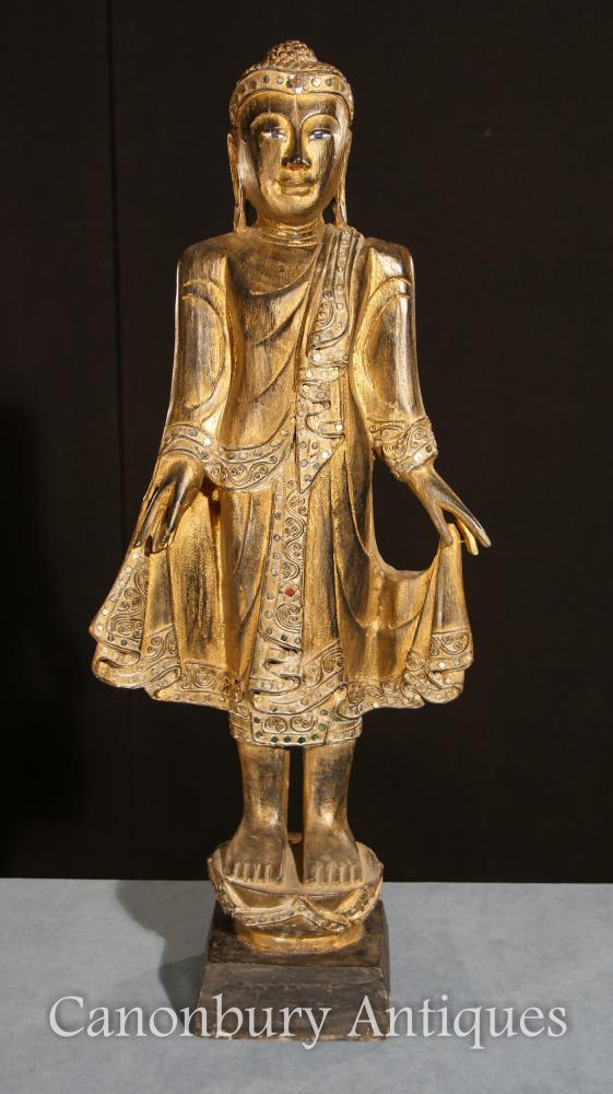 Statue de Bouddha Debout Sculpté à la Main Dorée Art Bouddhiste Tibétain