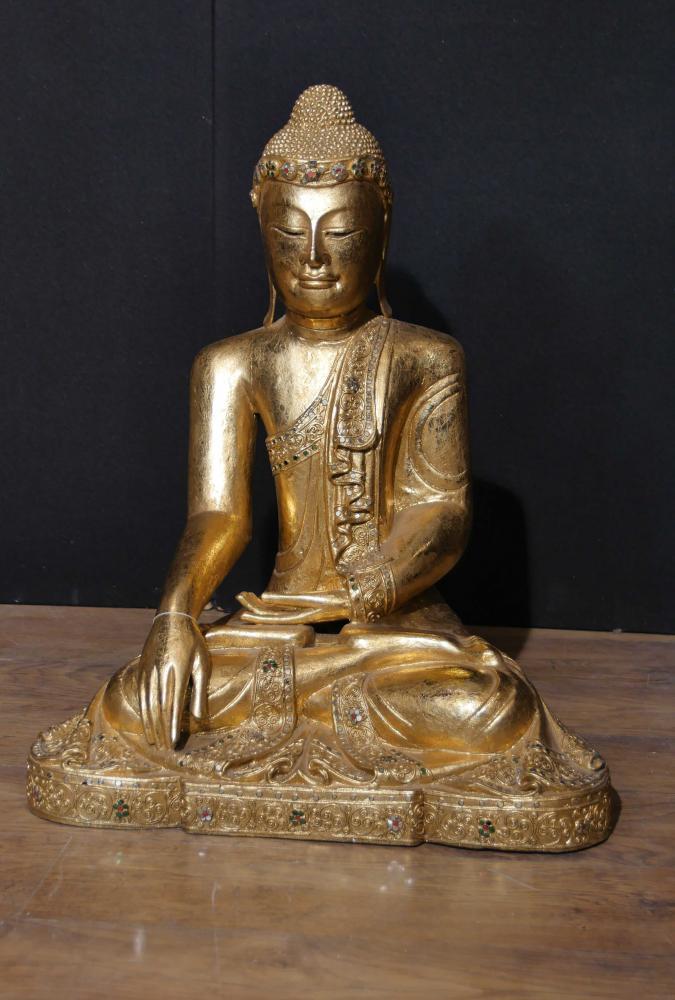Statue de Bouddha antique népalaise - méditation bouddhiste Pose Dhyanasana