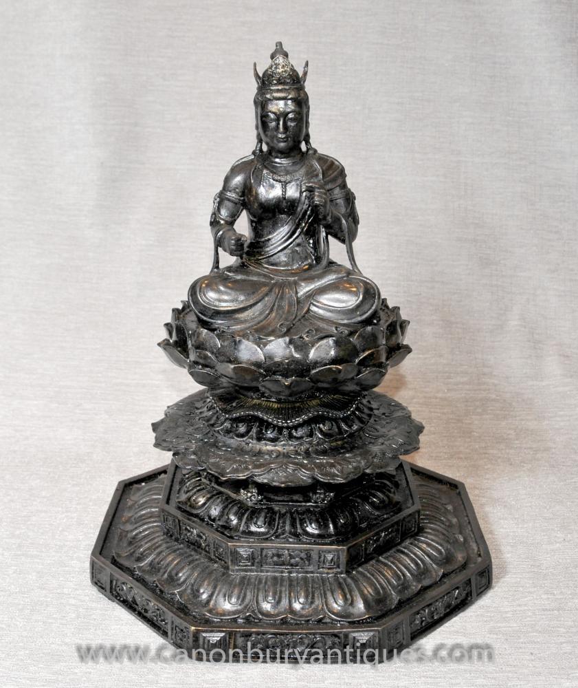 Statue de Bouddha birman en bronze Trône de Lotus Art bouddhiste Bouddhisme
