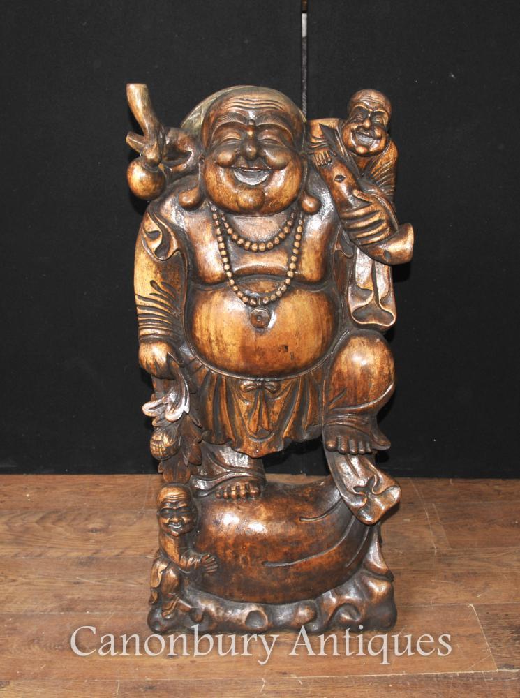 Statue de Bouddha chinois heureux sculpté à la main Bouddhisme Bouddhiste
