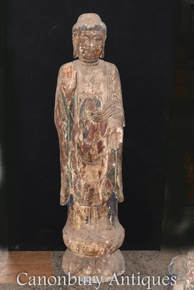 Statue de Bouddha népalaise debout - Bouddhiste de 6 pieds de haut, sculpté à la main