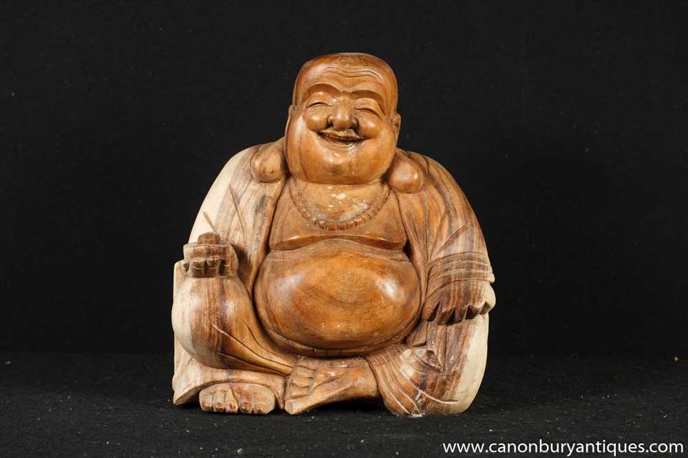 Statue de bouddha de Hotei heureux sculpté à la main bouddhisme bouddhiste
