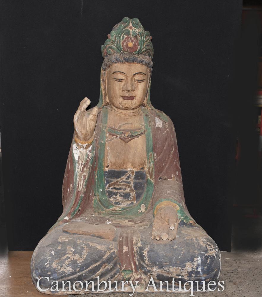 Statue de bouddha tibétain sculptée à la main géante