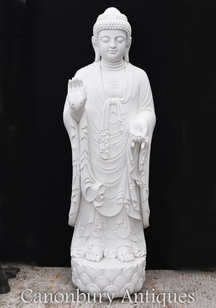 Statue géante de Bouddha tibétain en marbre - 210 CM Art bouddhiste