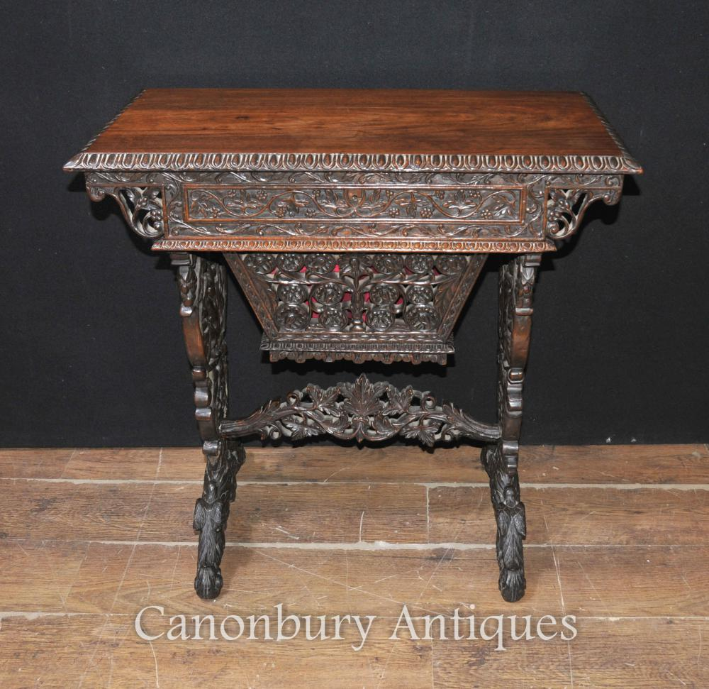 Table Bureau Burmese Antique 1890 En Bois Massif Sculpté à La Main
