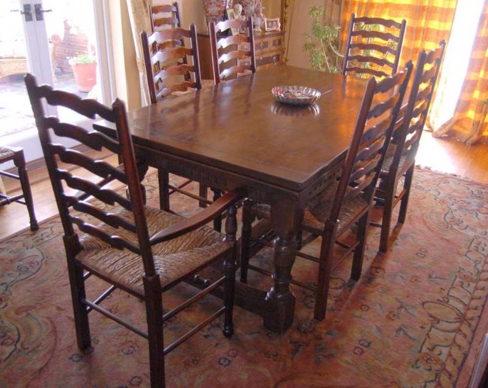 Table De Réfectoir En Chêne, Chaises À Échelle Cuisine Cuisine