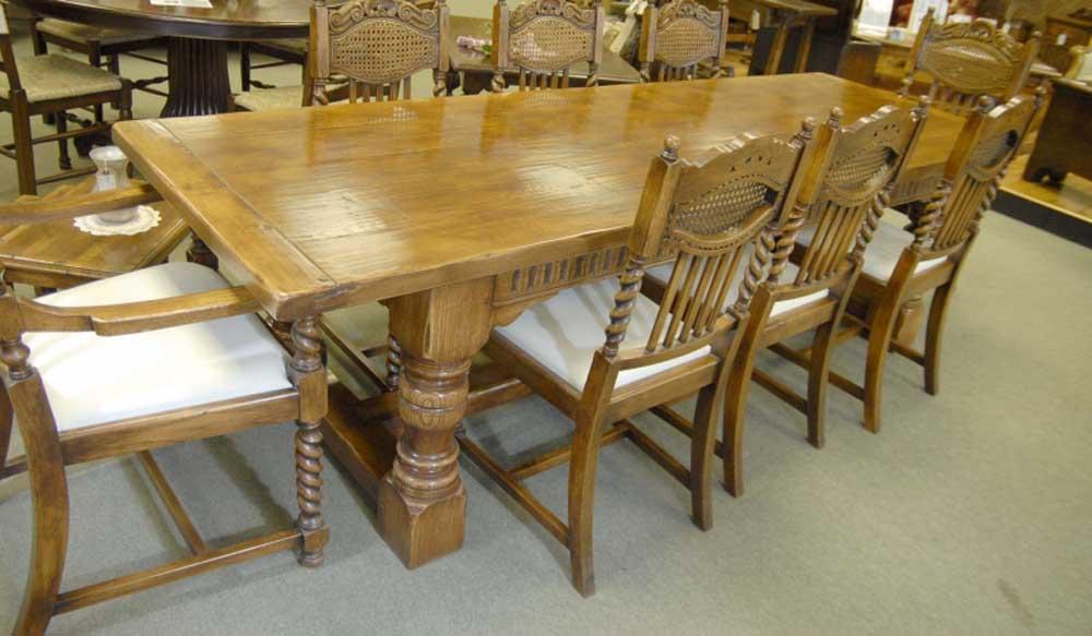 Table de cuisine en chêne - Table de réfectoire Abbey Farmhouse, meubles rustiques