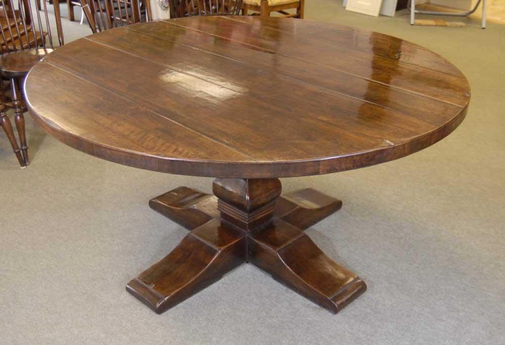 Table de ferme ronde de réfectoire espagnole Tables de chêne