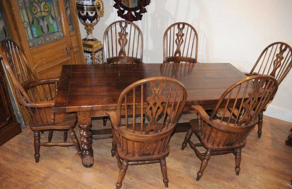 Table de réfectoire Farmhouse, Windsor, chaises de bras, cuisine