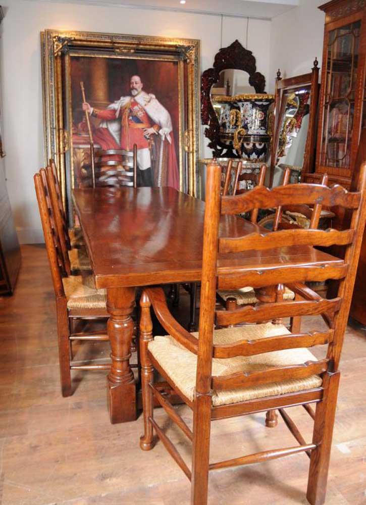 Table de réfectoire Farmhouse, ensemble de chaises à dossier en échelle