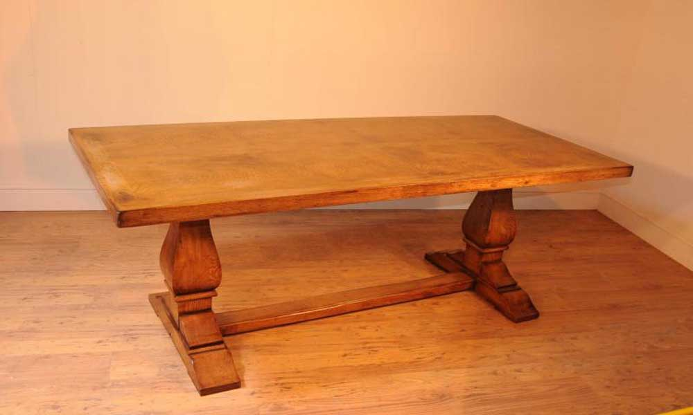 Table de réfectoire de ferme de ferme de chêne Tables de salle à manger Meubles rustiques
