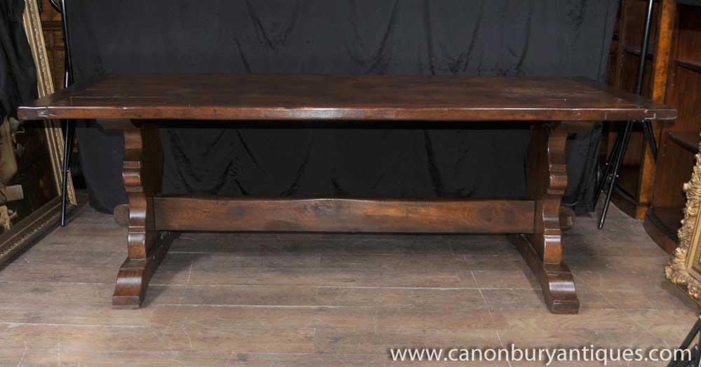 Table de réfectoire en chêne Tables de salle à manger Mobilier de ferme