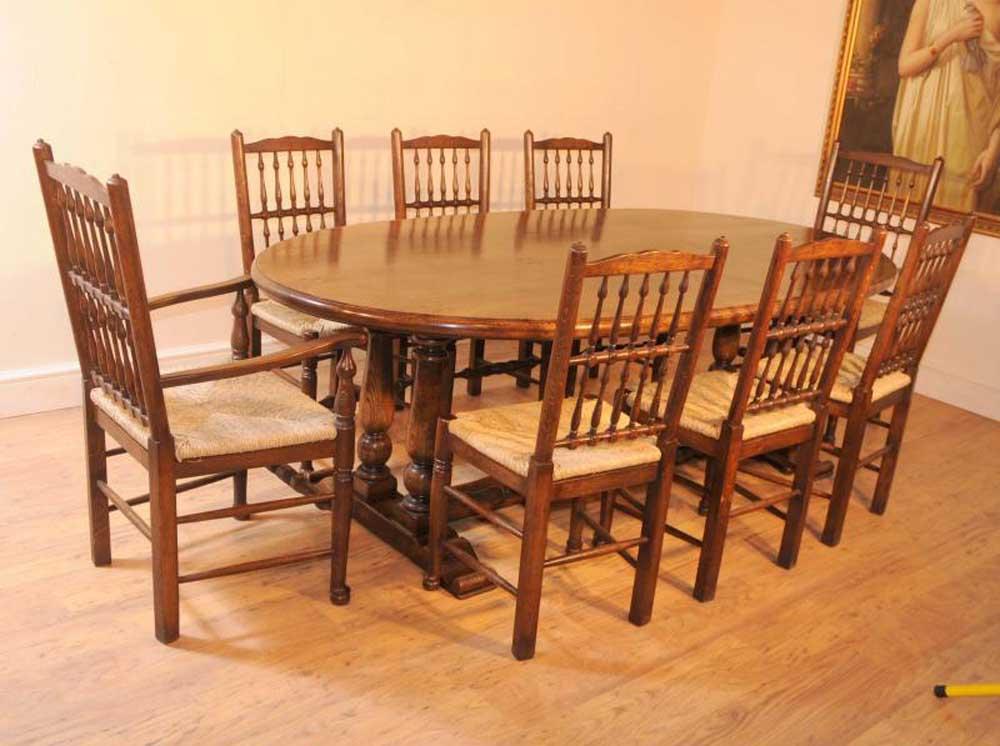 Table de réfectoire en chêne de la table à manger, chaises Spindleback